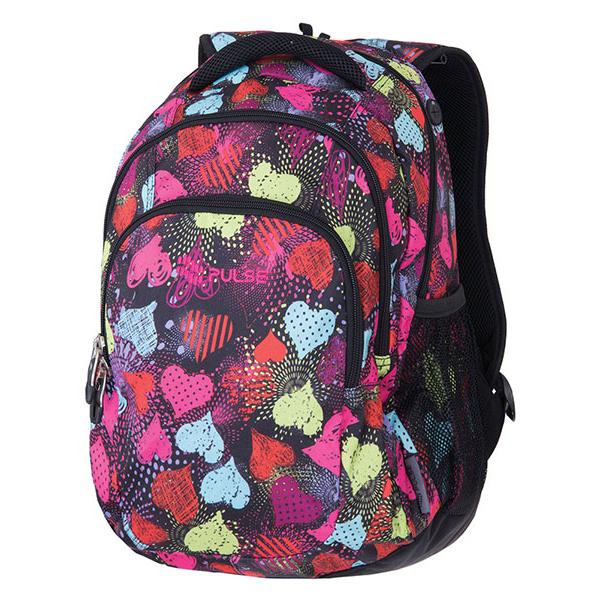Pulse školní batoh teens černý se srdíčky f379c47af9
