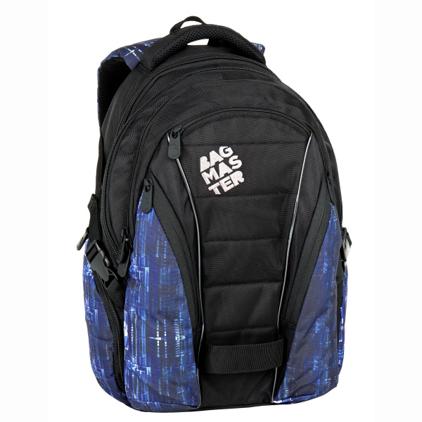 "Bagmaster tříkomorový batoh s kapsou na notebook 15,4"" - a BAG 7 G BLACK/BLUE/WHITE"