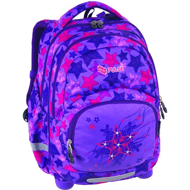 097a578bbe Pulse školní anatomický batoh 2v1 - fialový hvězdy