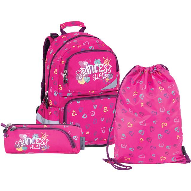 ba77ff65e3c Pulse školní anatomický batoh růžový princess - set